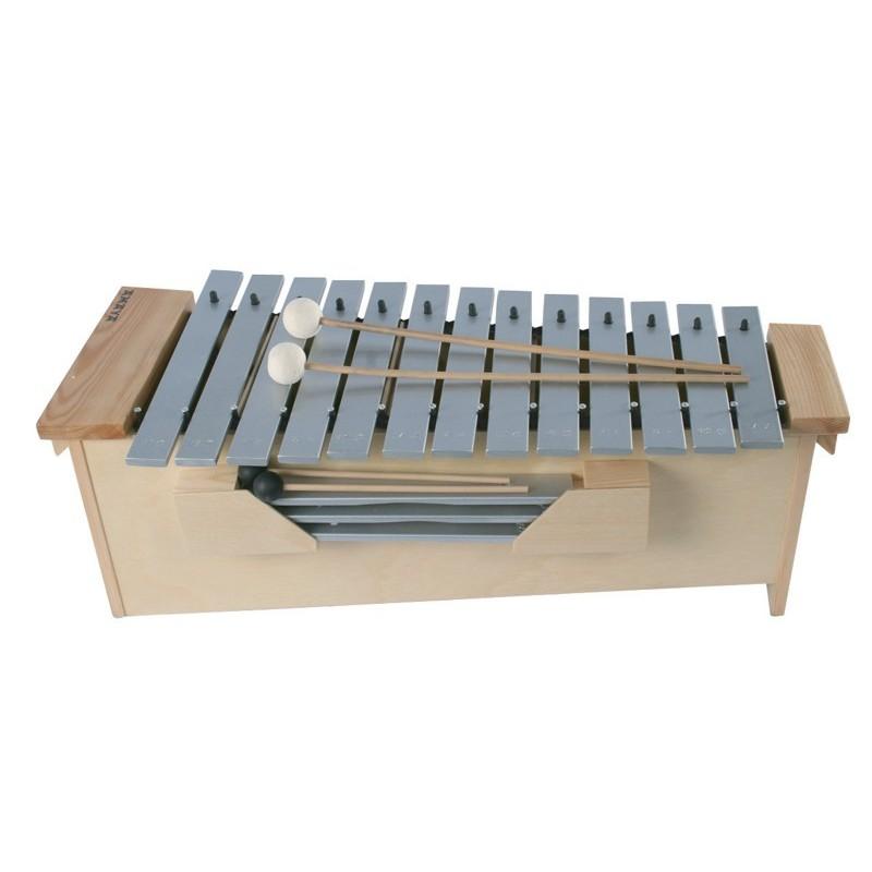 Metalófonos con 3 plaquetas intercambiables para diferentes escalas.