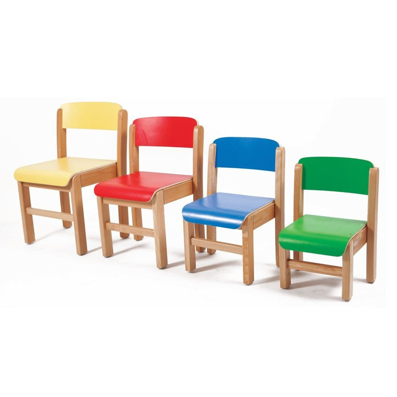 Sillas 4 alturas 5 colores for Sillas madera colores