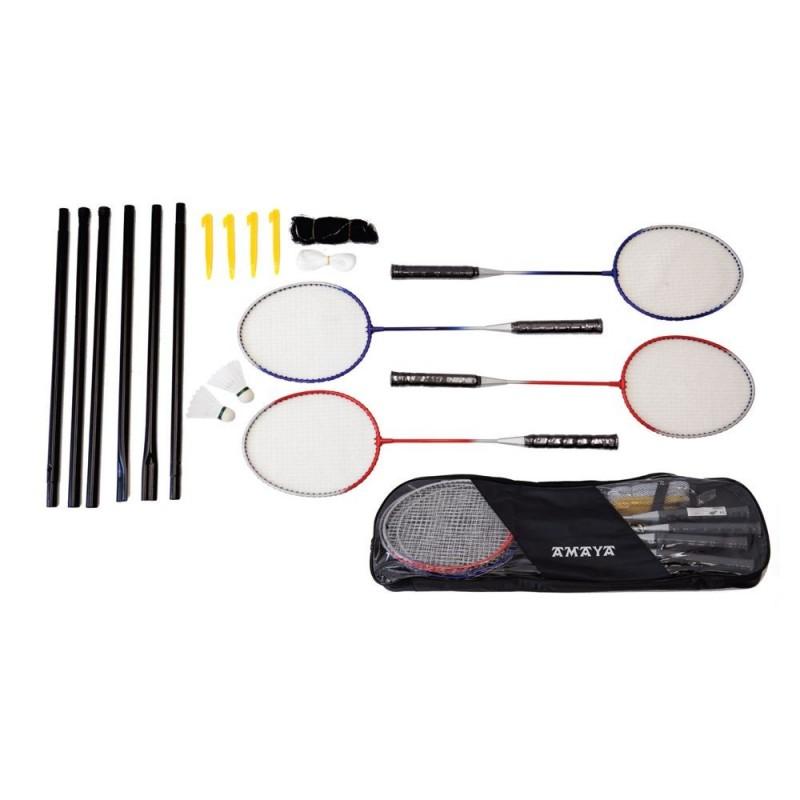 Set 4 raquetas de badminton con postes, red, 2 volantes y bolso