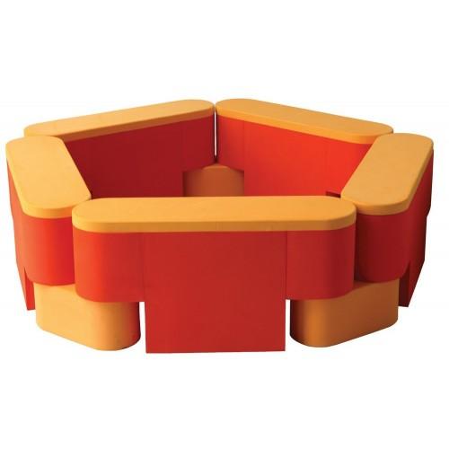 Parque modular soft guarda material, 5 módulos + 5 piezas de unión