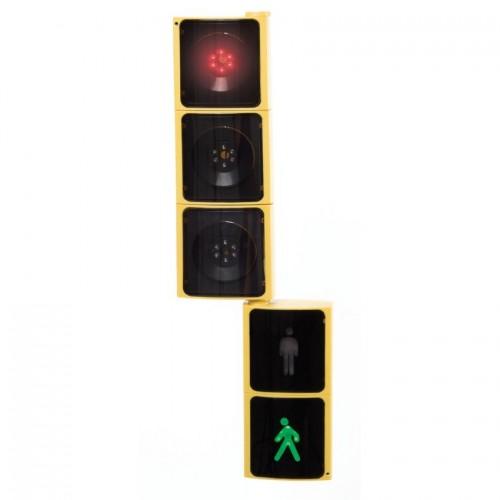 Semáforo. Set vehículos y peatones para colgar.
