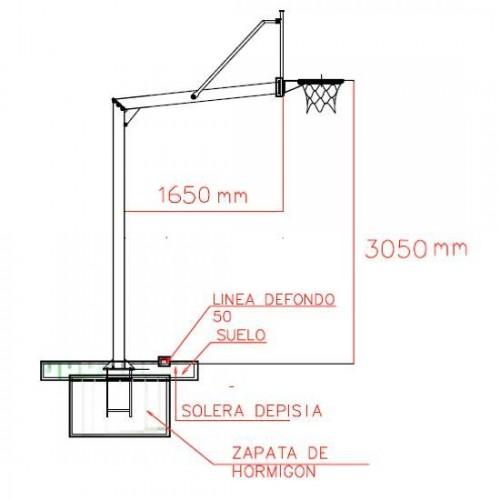 Juego de canastas basket fijas con postes redondos Ø 140 mm. 2,25 m. de vuelo. Con tableros de cristal templado de 1,2 cm
