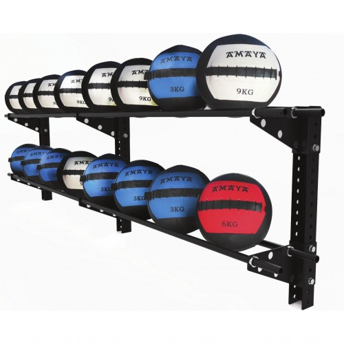Long wall rack for medicinal balls.