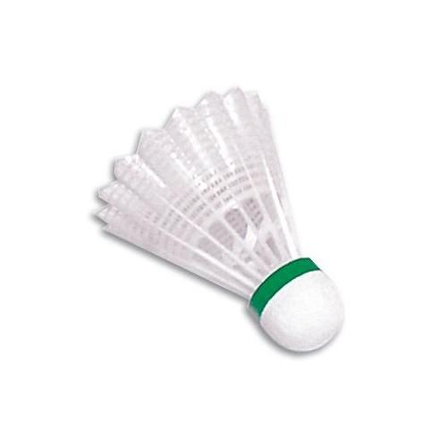 Volante de badminton de vinilo. Color verde. Velocidad lenta.
