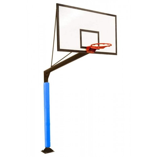 Basketball game basket with round poles fixed with fiberglass boards of 2 cm