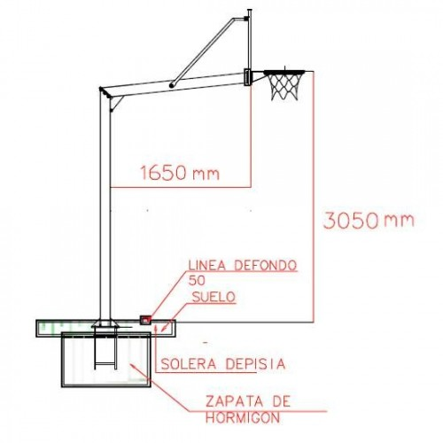 Fixed basket basket game with 140 mm diameter round posts. 2.25 m. of flight. with Tempered glass panels of 1.2 cm